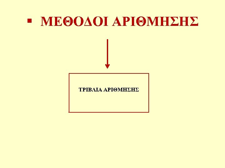 § ΜΕΘΟΔΟΙ ΑΡΙΘΜΗΣΗΣ ΤΡΙΒΛΙΑ ΑΡΙΘΜΗΣΗΣ