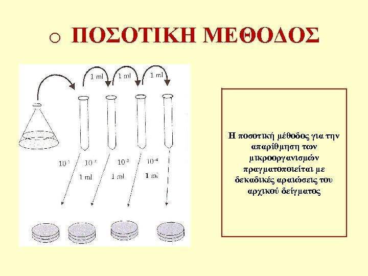 o ΠΟΣΟΤΙΚΗ ΜΕΘΟΔΟΣ Η ποσοτική μέθοδος για την απαρίθμηση των μικροοργανισμών πραγματοποιείται με δεκαδικές