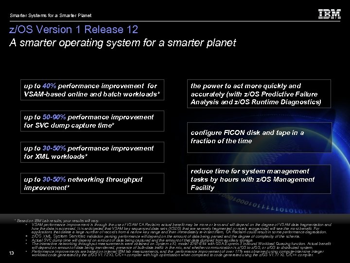 Smarter Systems for a Smarter Planet z/OS Version 1 Release 12 A smarter operating