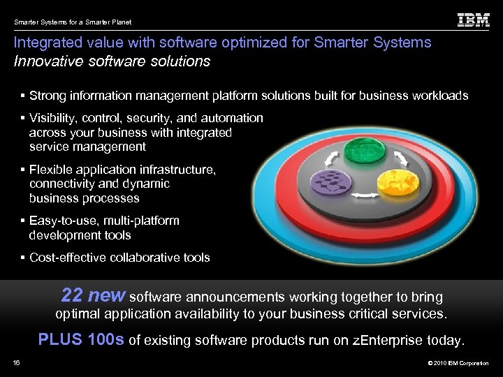 Smarter Systems for a Smarter Planet Integrated value with software optimized for Smarter Systems
