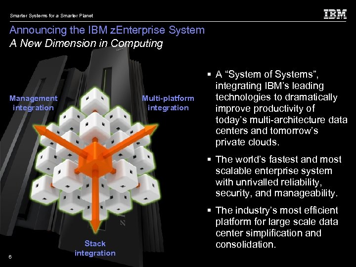 Smarter Systems for a Smarter Planet Announcing the IBM z. Enterprise System A New