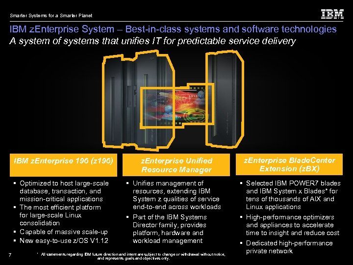 Smarter Systems for a Smarter Planet IBM z. Enterprise System – Best-in-class systems and