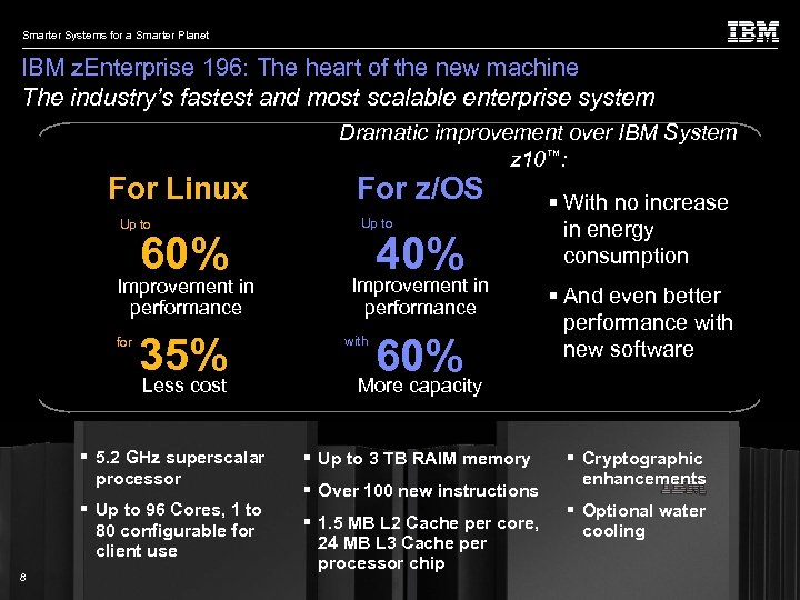 Smarter Systems for a Smarter Planet IBM z. Enterprise 196: The heart of the