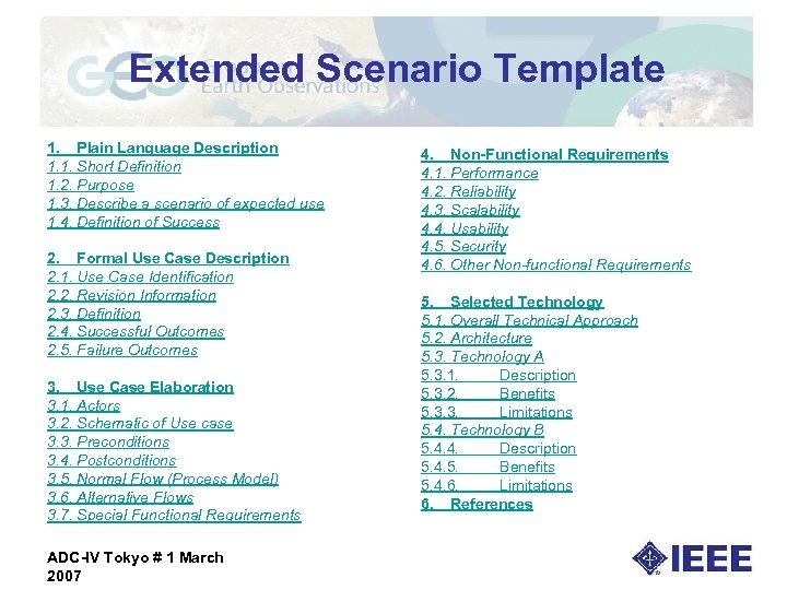 Extended Scenario Template 1. Plain Language Description 1. 1. Short Definition 1. 2. Purpose
