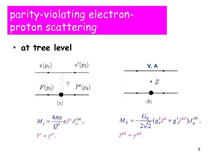 parity-violating electronproton scattering • at tree level V, A 6
