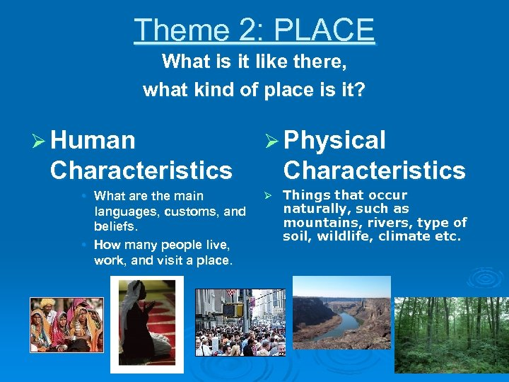 Theme 2: PLACE What is it like there, what kind of place is it?