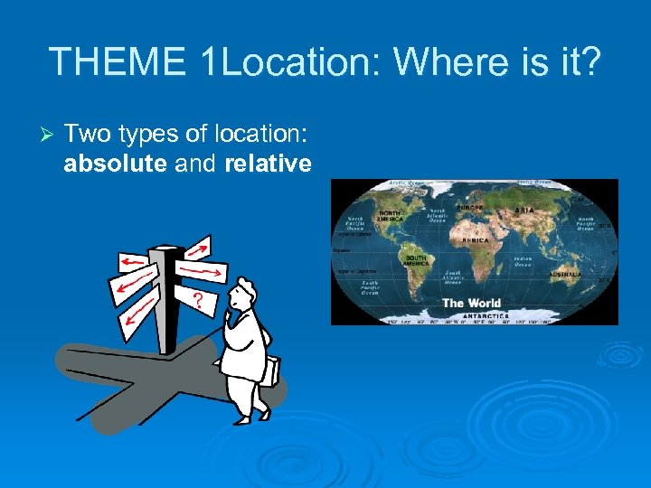 THEME 1 Location: Where is it? Ø Two types of location: absolute and relative