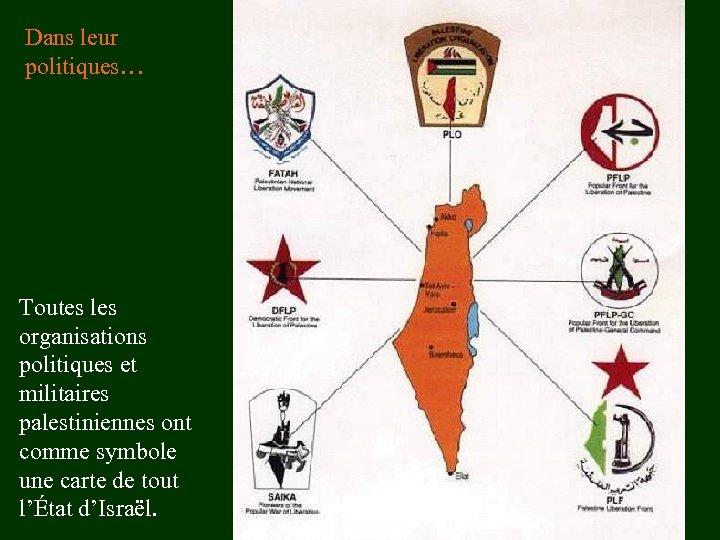 Dans leur politiques… Toutes les organisations politiques et militaires palestiniennes ont comme symbole une