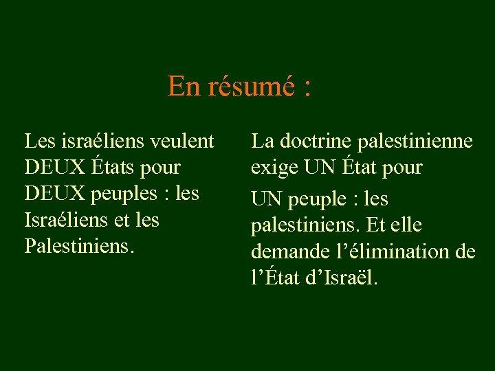 En résumé : Les israéliens veulent DEUX États pour DEUX peuples : les Israéliens