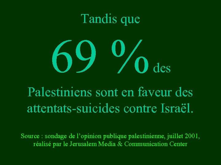 Tandis que 69 % des Palestiniens sont en faveur des attentats-suicides contre Israël. Source