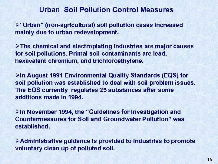 "Urban Soil Pollution Control Measures Ø""Urban"