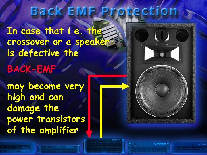 In case that i. e. the crossover or a speaker is defective the BACK-EMF