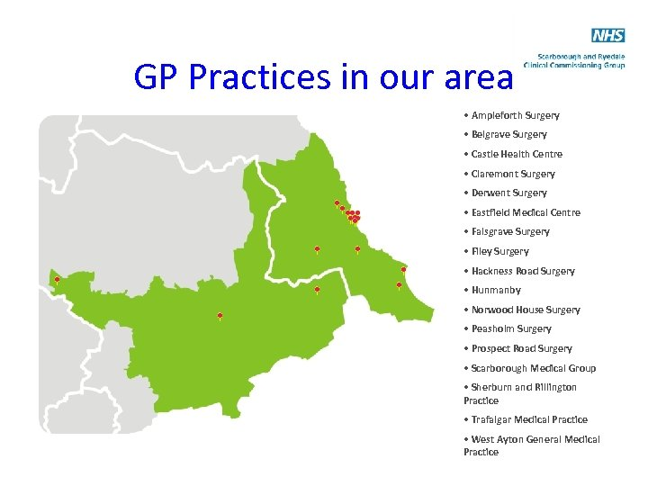 GP Practices in our area • Ampleforth Surgery • Belgrave Surgery • Castle Health