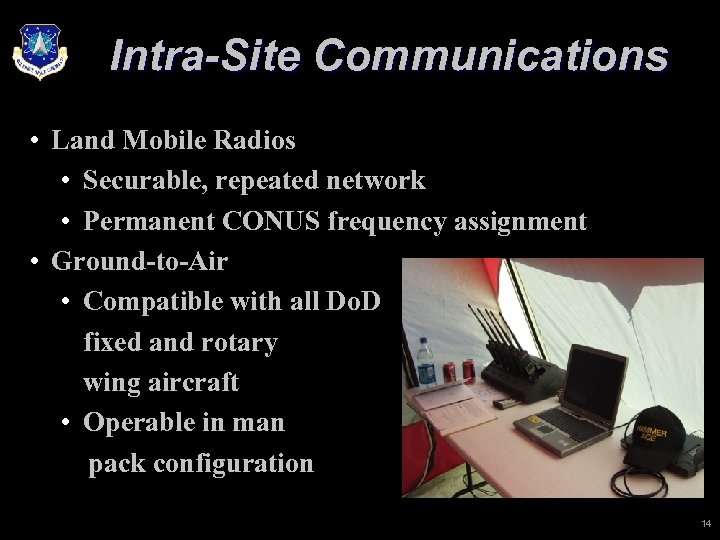 Intra-Site Communications • Land Mobile Radios • Securable, repeated network • Permanent CONUS frequency