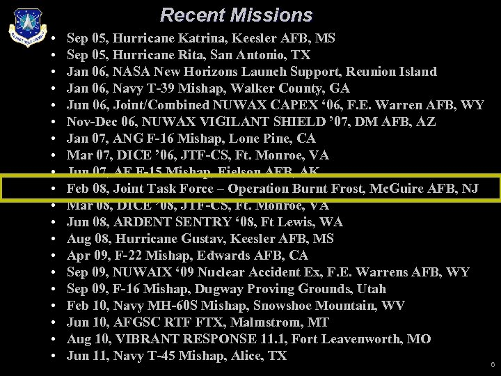 Recent Missions • • • • • Sep 05, Hurricane Katrina, Keesler AFB, MS