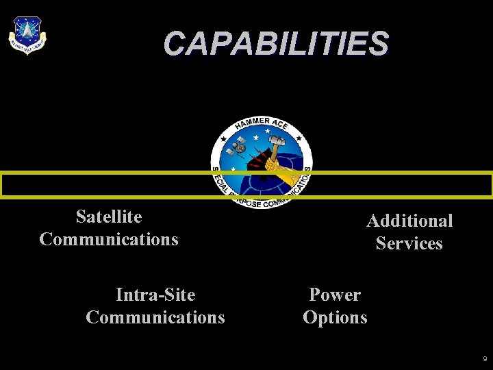 CAPABILITIES Satellite Communications Intra-Site Communications Additional Services Power Options 9