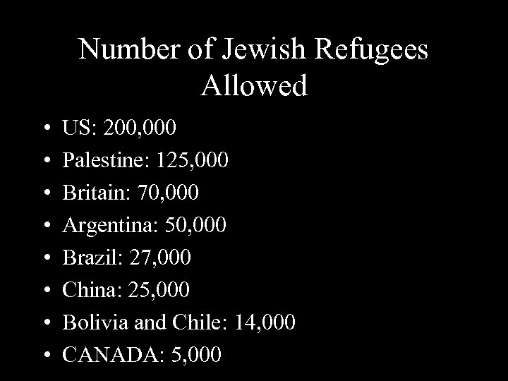 Number of Jewish Refugees Allowed • • US: 200, 000 Palestine: 125, 000 Britain: