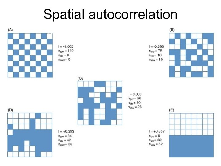 Spatial autocorrelation Negative Dispersed Spatial Independence Spatial Clustering Positive