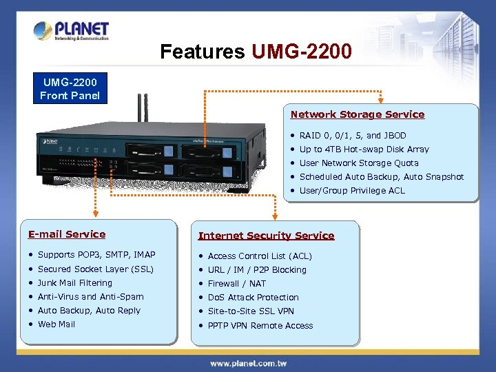 Features UMG-2200 Front Panel Network Storage Service • RAID 0, 0/1, 5, and JBOD
