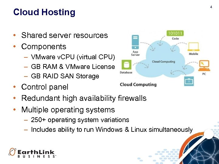 Cloud Hosting • Shared server resources • Components – VMware v. CPU (virtual CPU)