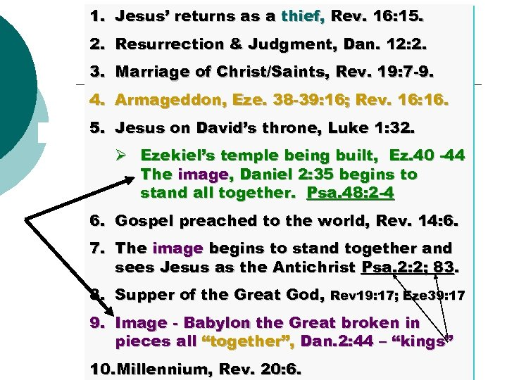 1. Jesus' returns as a thief, Rev. 16: 15. 2. Resurrection & Judgment, Dan.