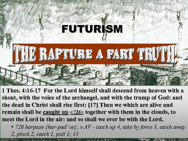 FUTURISM 1 Thes. 4: 16 -17 For the Lord himself shall descend from heaven