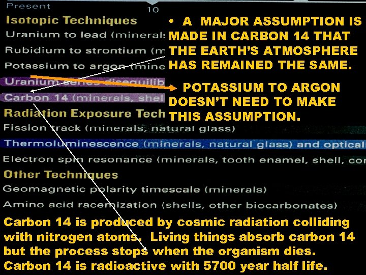 • A MAJOR ASSUMPTION IS MADE IN CARBON 14 THAT THE EARTH'S ATMOSPHERE