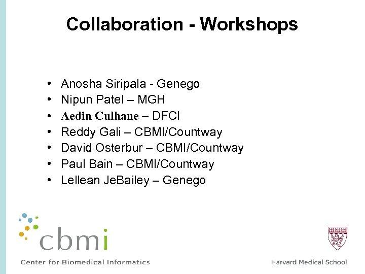 Collaboration - Workshops • • Anosha Siripala - Genego Nipun Patel – MGH Aedin