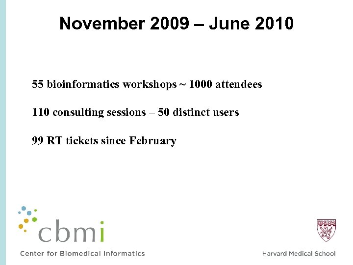 November 2009 – June 2010 55 bioinformatics workshops ~ 1000 attendees 110 consulting sessions