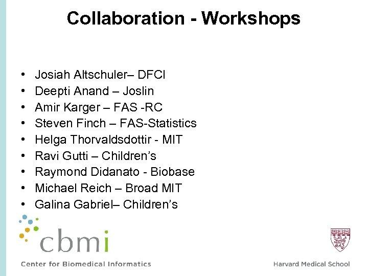 Collaboration - Workshops • • • Josiah Altschuler– DFCI Deepti Anand – Joslin Amir