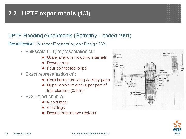 2. 2 UPTF experiments (1/3) UPTF Flooding experiments (Germany – ended 1991) Description (Nuclear