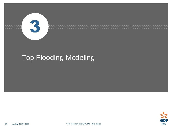 3 Top Flooding Modeling 15 october 25 -27, 2005 11 th International QUENCH Workshop