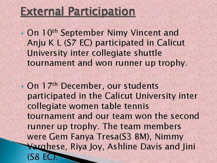 External Participation On 10 th September Nimy Vincent and Anju K L (S 7
