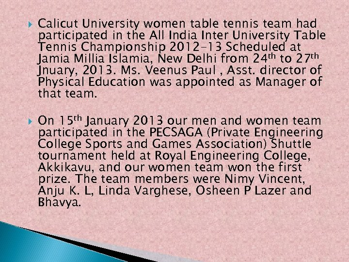 Calicut University women table tennis team had participated in the All India Inter