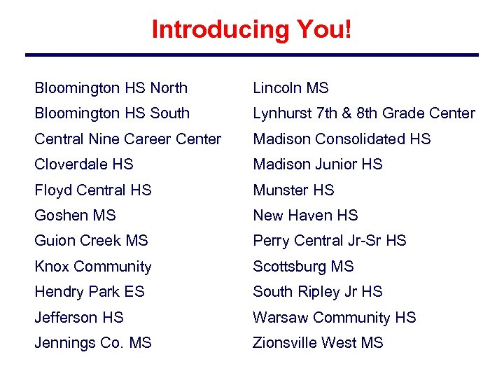 Introducing You! Bloomington HS North Lincoln MS Bloomington HS South Lynhurst 7 th &