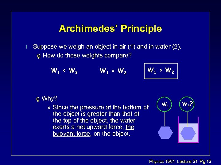 Archimedes' Principle l Suppose we weigh an object in air (1) and in water
