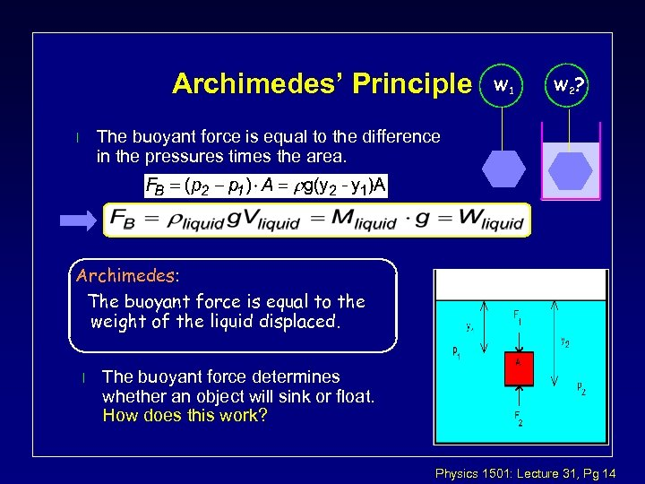 Archimedes' Principle W 1 W 2 ? The buoyant force is equal to the