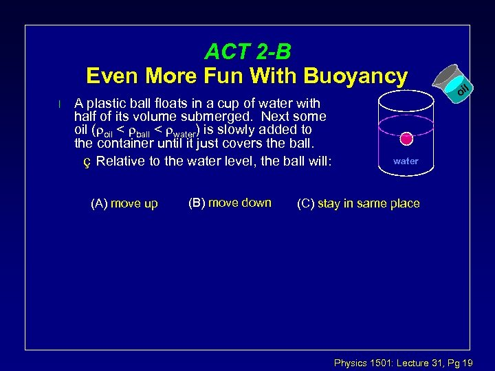 ACT 2 -B Even More Fun With Buoyancy l A plastic ball floats in