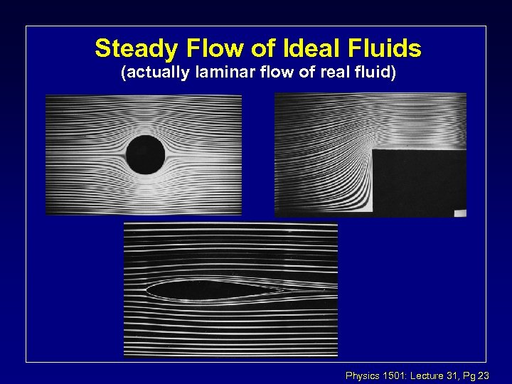 Steady Flow of Ideal Fluids (actually laminar flow of real fluid) Physics 1501: Lecture