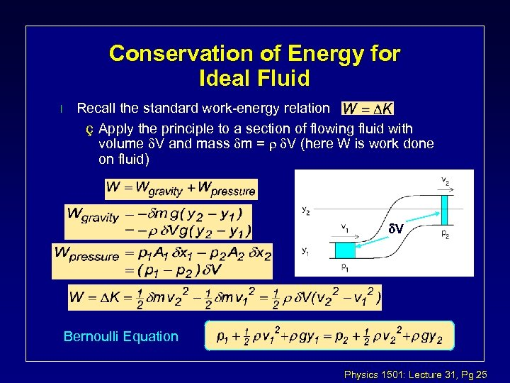 Conservation of Energy for Ideal Fluid l Recall the standard work-energy relation ç Apply