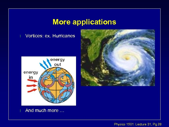 More applications l Vortices: ex. Hurricanes l And much more … Physics 1501: Lecture