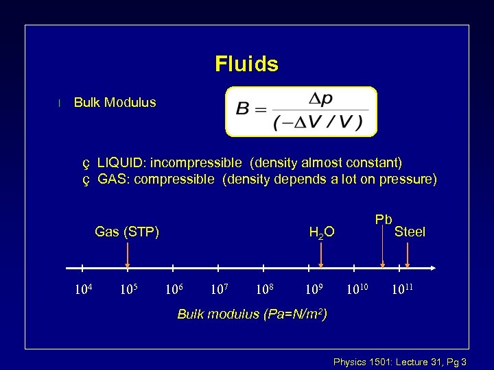 Fluids l Bulk Modulus ç LIQUID: incompressible (density almost constant) ç GAS: compressible (density