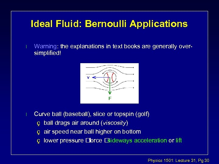 Ideal Fluid: Bernoulli Applications l Warning: the explanations in text books are generally oversimplified!