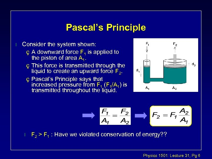 Pascal's Principle l Consider the system shown: ç A downward force F 1 is