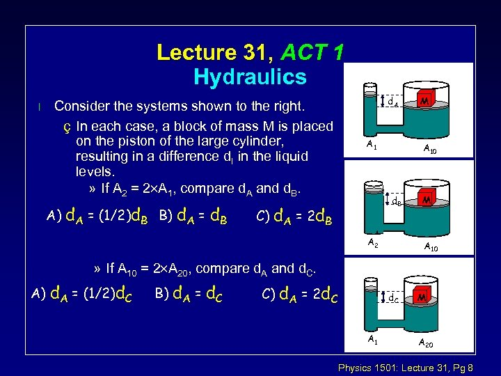 Lecture 31, ACT 1 Hydraulics l Consider the systems shown to the right. ç