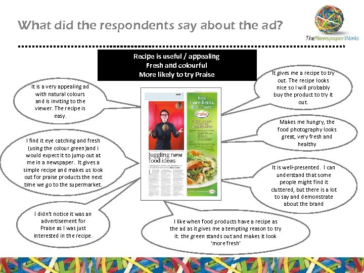 What did the respondents say about the ad? Recipe is useful / appealing Fresh