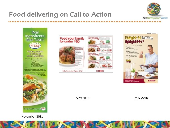 Food delivering on Call to Action May 2009 November 2011 May 2010