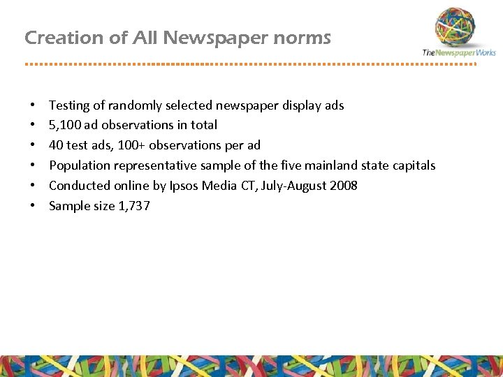 Creation of All Newspaper norms • • • Testing of randomly selected newspaper display
