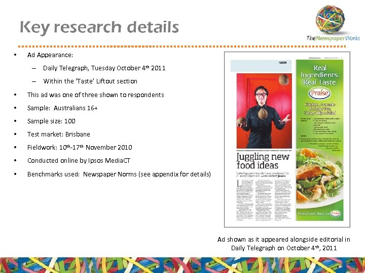 • Ad Appearance: – Daily Telegraph, Tuesday October 4 th 2011 – Within