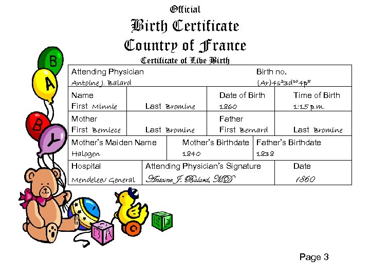 Official Birth Certificate Country of France Certificate of Live Birth Attending Physician Antoine J.